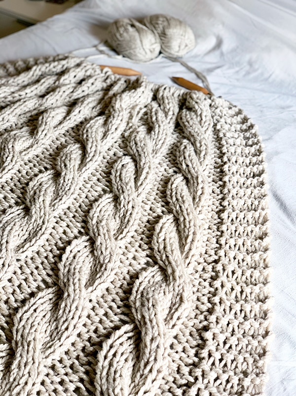 cable blanket knit with super bulky yarn