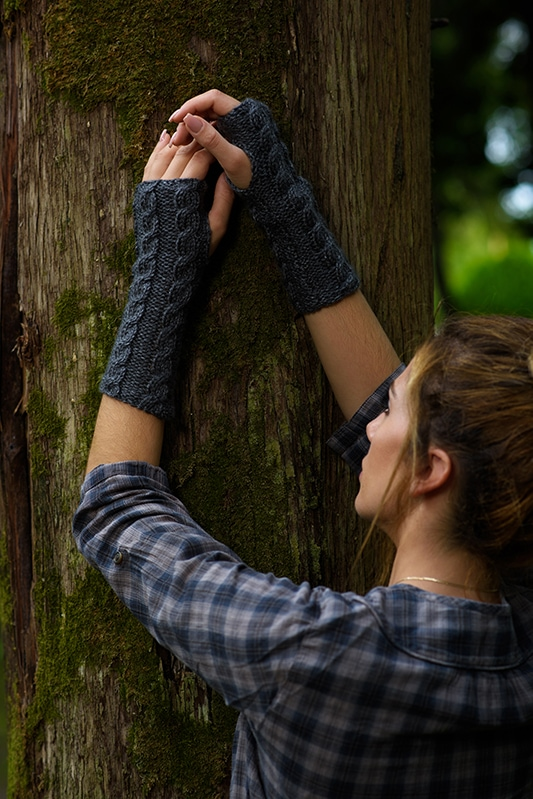 cable knit fingerless gloves in dark grey yarn