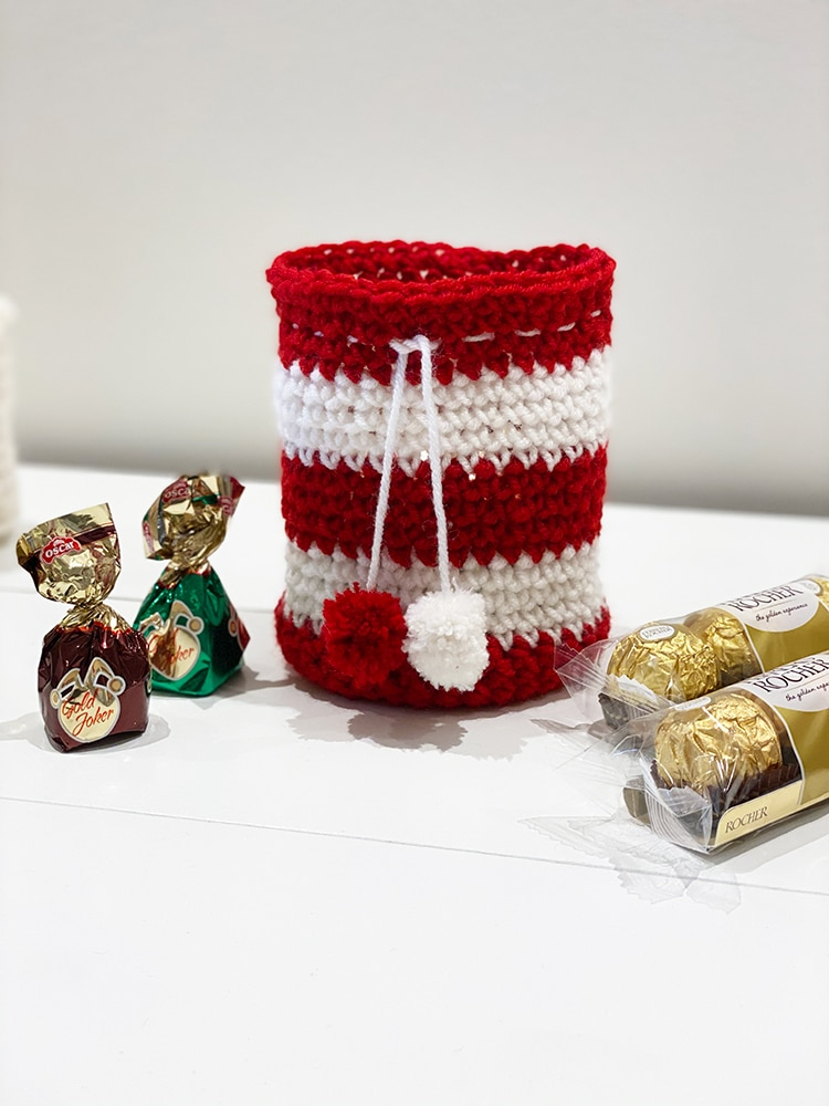 Candy cane crochet drawstring bag