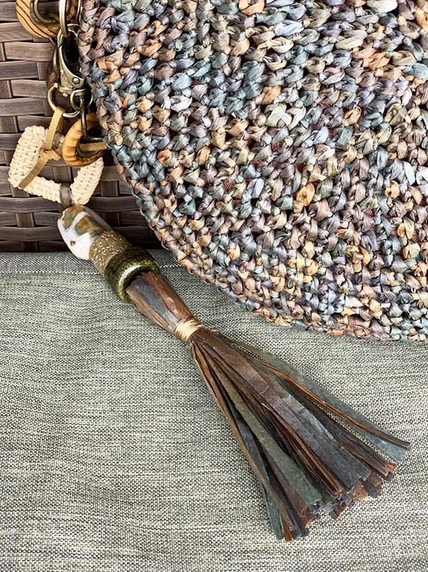 tassel bag charm with beads