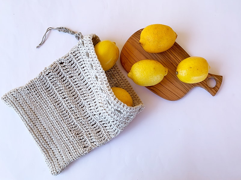zero waste crochet produce bag with lemons