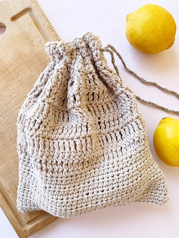 crochet cotton drawstring bag