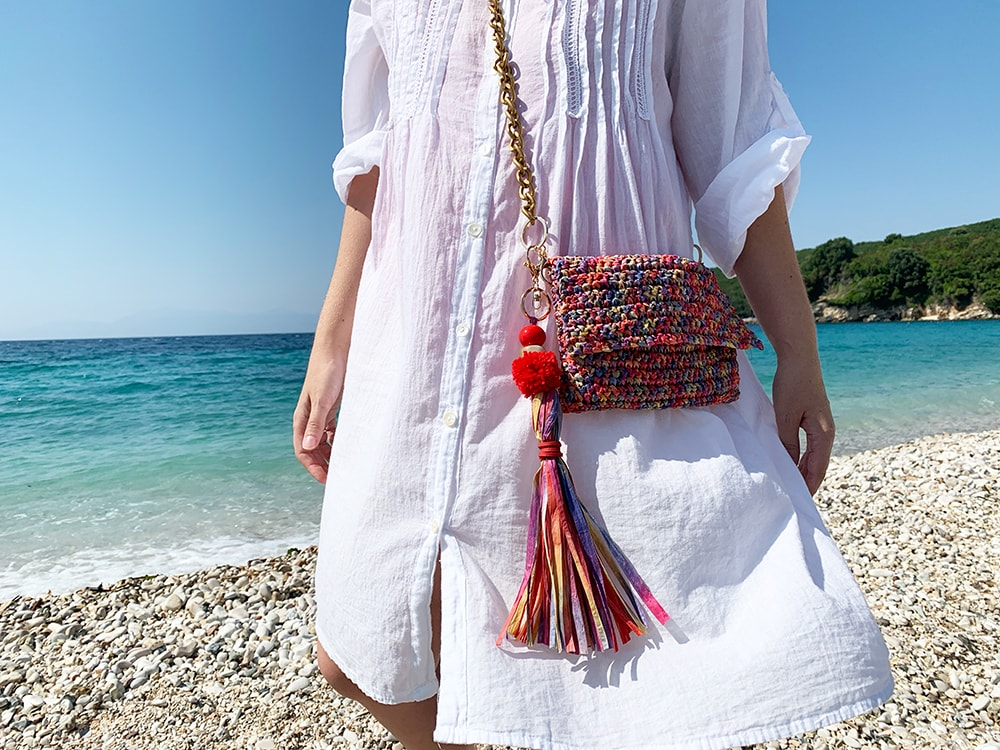 raffia crochet purse with long tassel