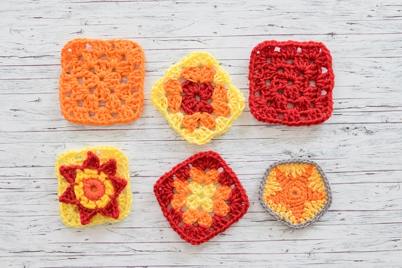 crochet squares with various stitch patterns