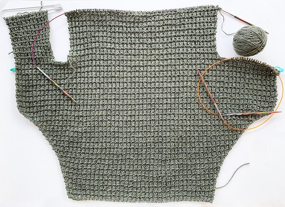 dog sweater on the needles