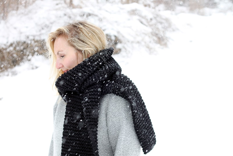 huge knitted black wrap around scarf