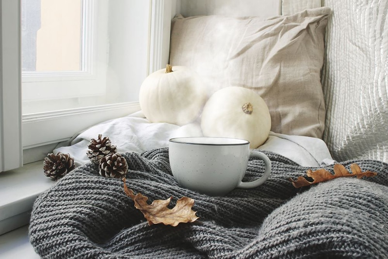 knitted blanket with cofffee cup and white pumpkins