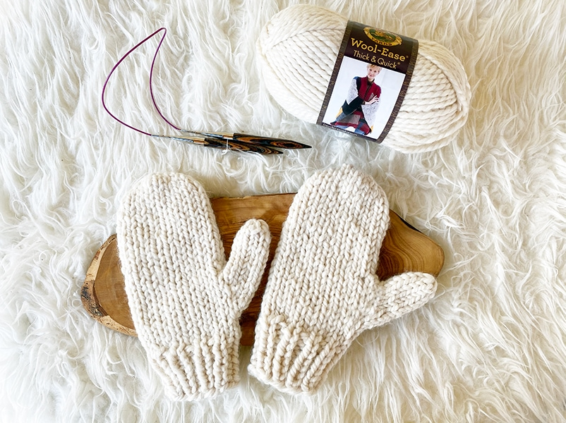 knitted mittens in lion brand wool ease thick and quick yarn