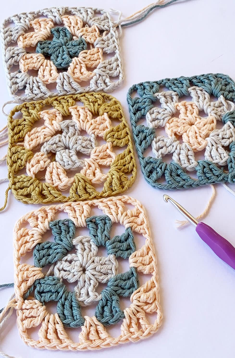 crochet granny squares made from cotton