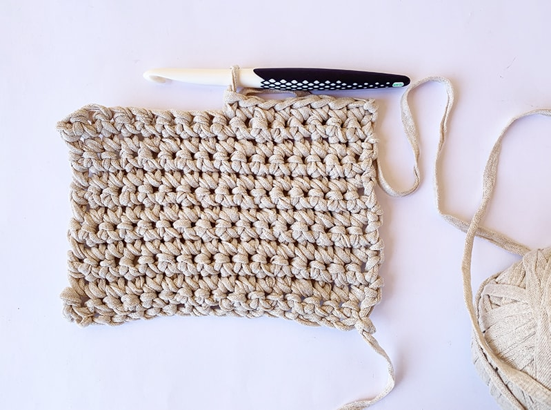 single crochet swatch with crochet hook