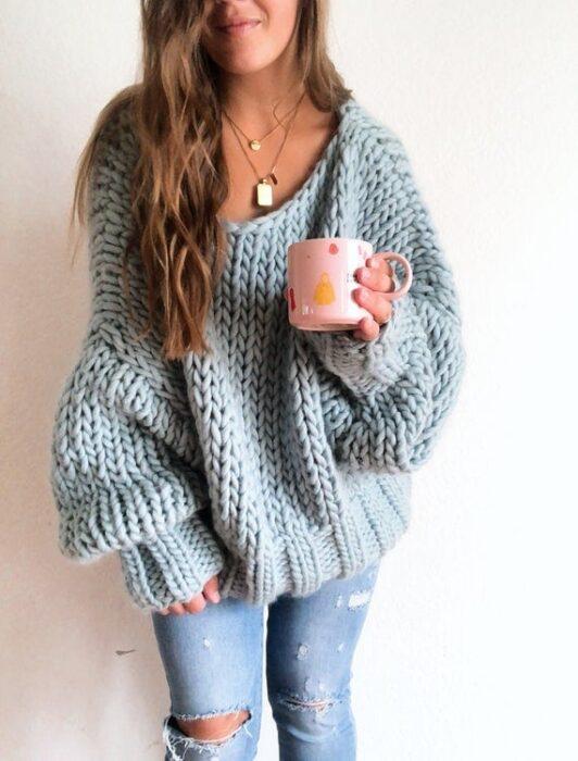 Winter Blues Wool Sweater Knitting Pattern