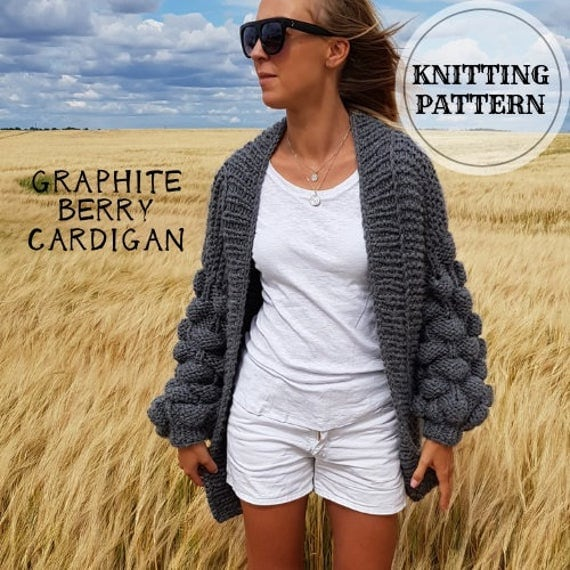 Bubble Sleeve Cunky Cardigan Knitting Pattern,