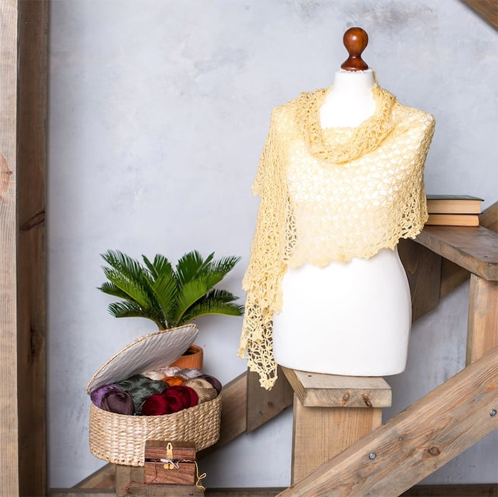 openwork knitted shawl knit with light fingering yarn