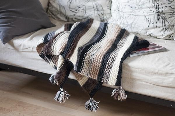 Knitted Striped Scrap Yarn Blanket