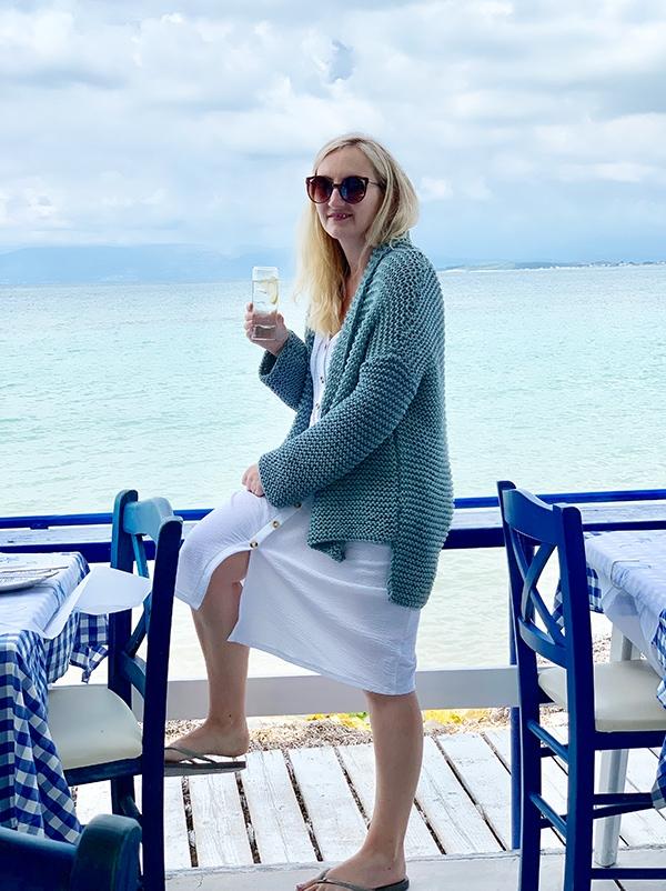 woman wearing a loose knit sweater