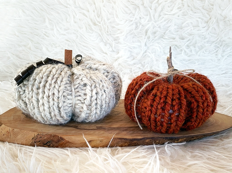 knitted pumpkins in super bulky yarn oatmeal and spice