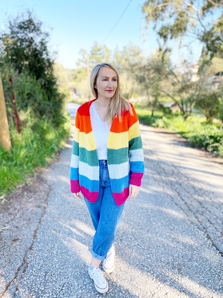 knitted rainbow cardigan