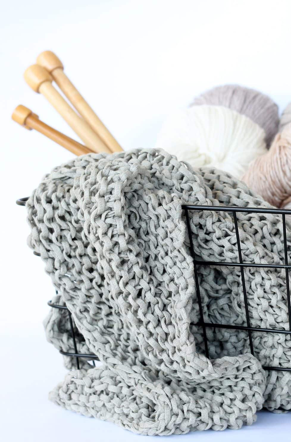 knitting basket with yarn