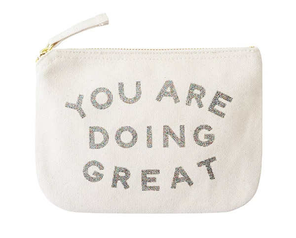 knitting essentials bag with a slogan