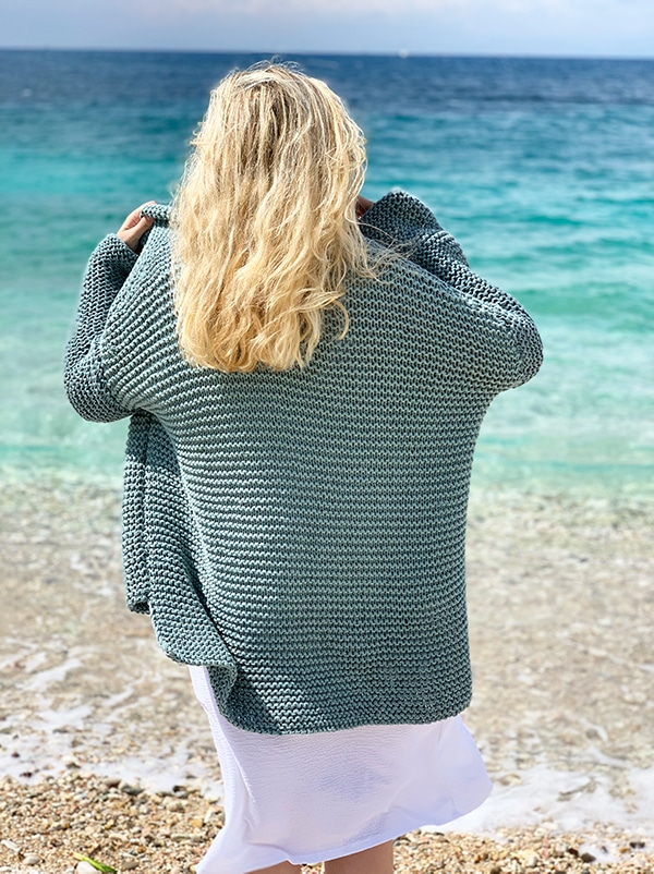 back view of knit sweater