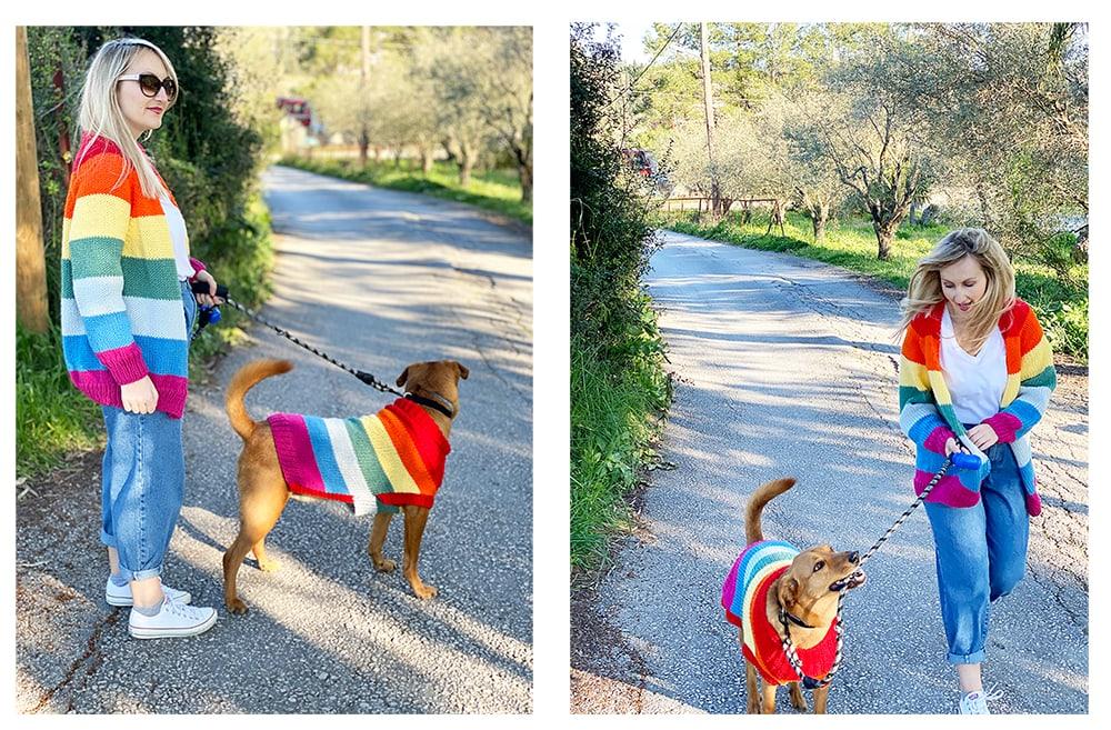 matching rainbow sweaters
