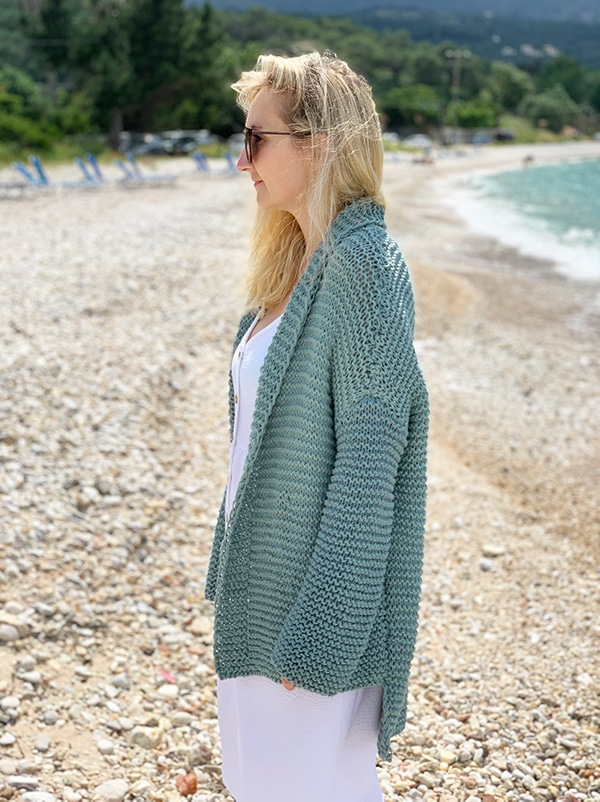 garter stitch oversized cardigan