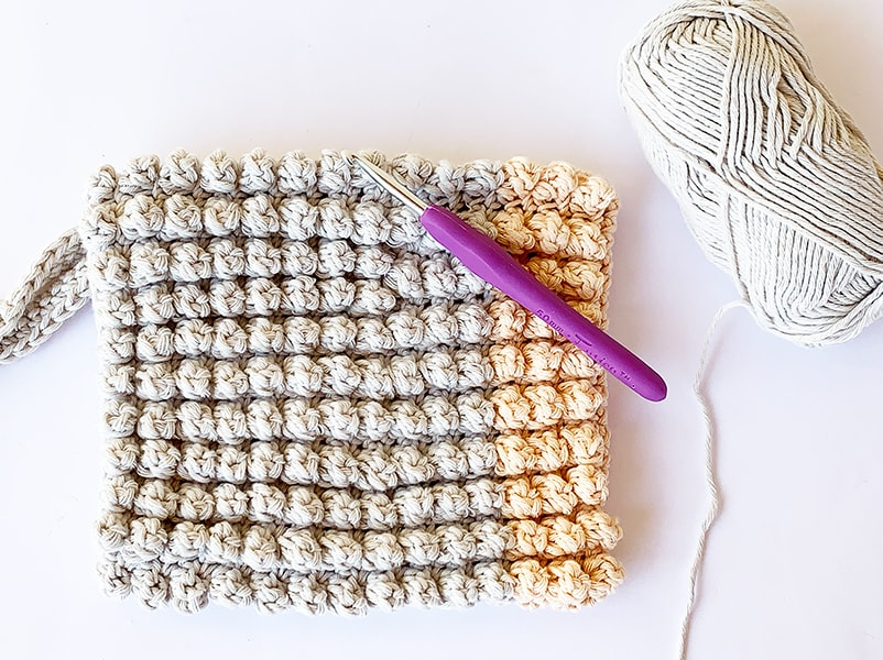 popcorn stitch wash mitt example