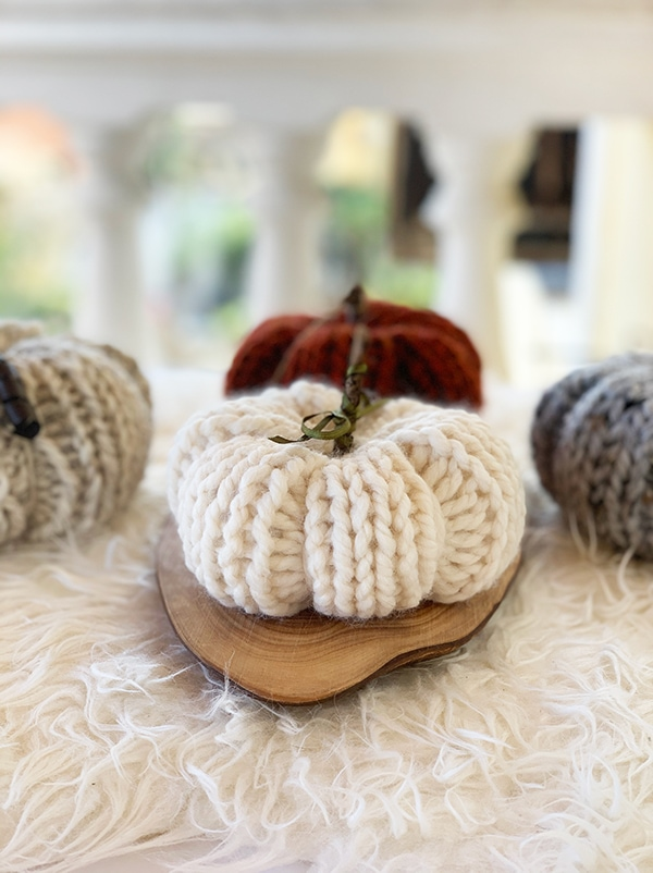 white knitted pumpkin