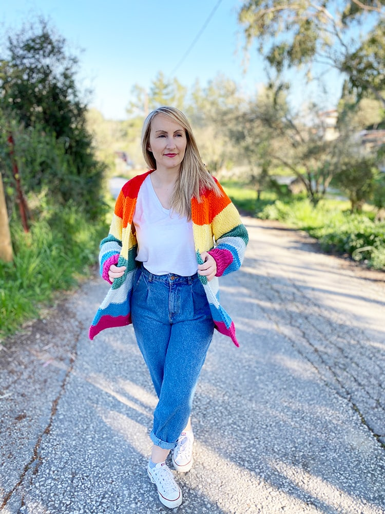 rainbow cardigan knitted