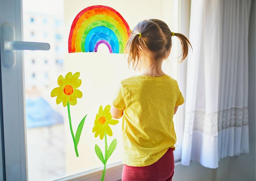 rainbow craft in the window