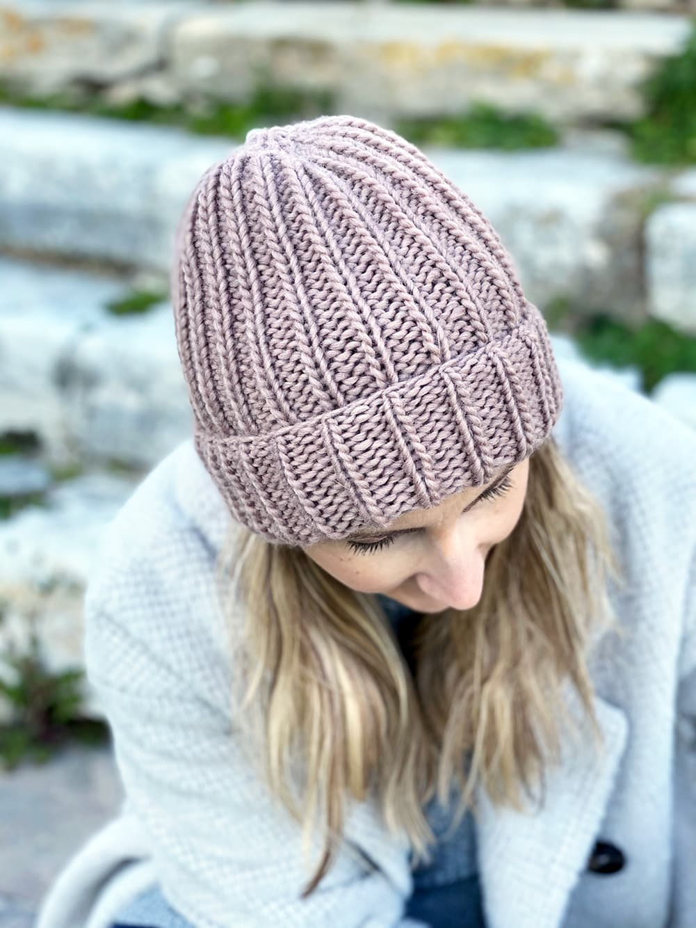 ribbed beanie in spotted mauve petite wool knit with straight needles