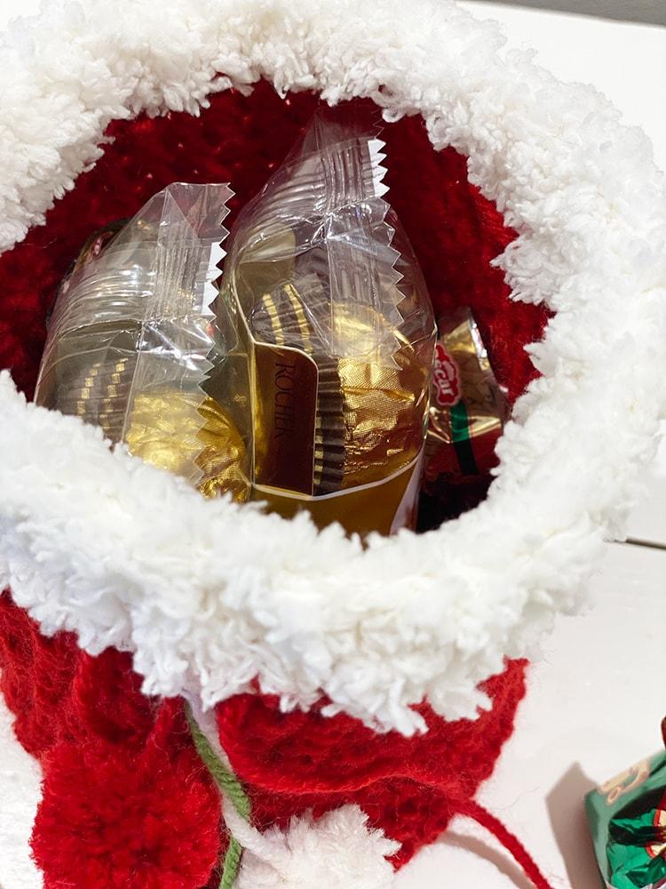 Santa sack drawstring bag with sweets inside