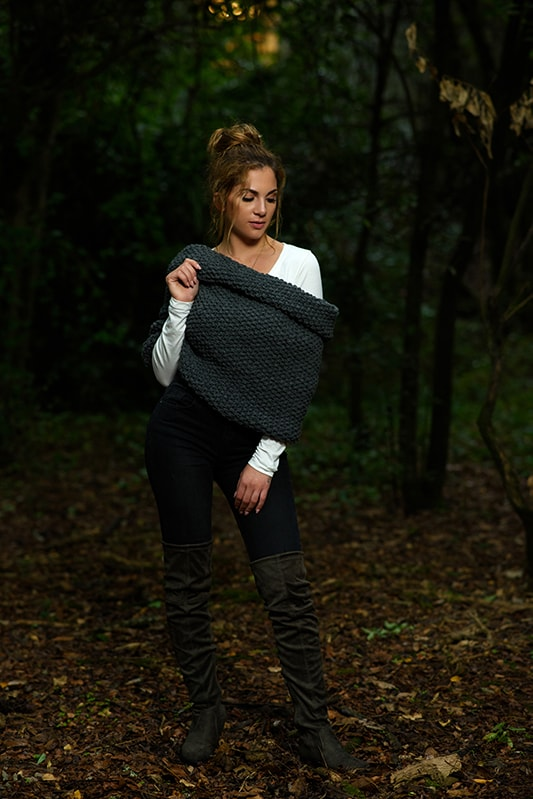 knitted seed stitch shrug