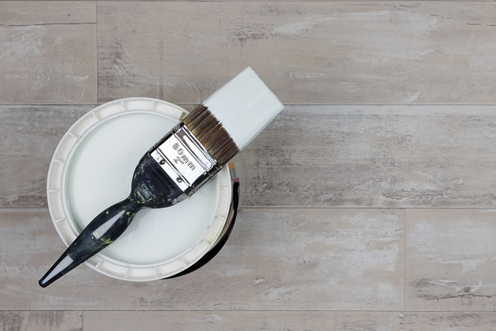 eco-friendly paint ona wooden floor