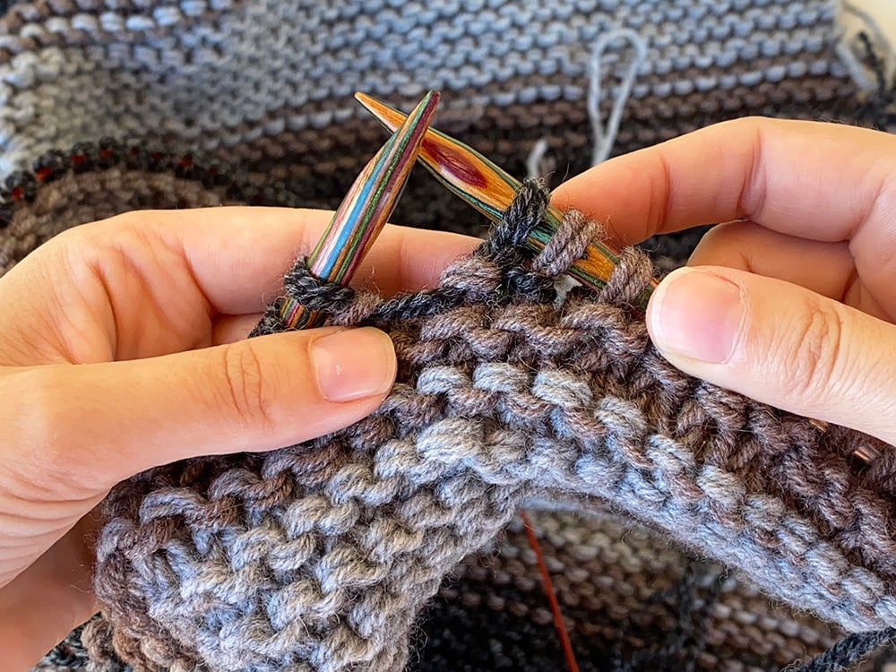 knit the next stitch