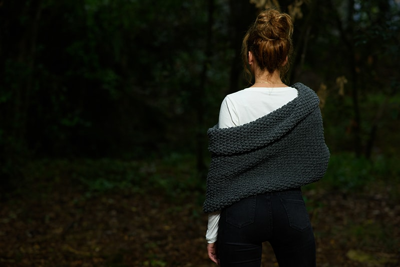knitted shrug with a textured fabric