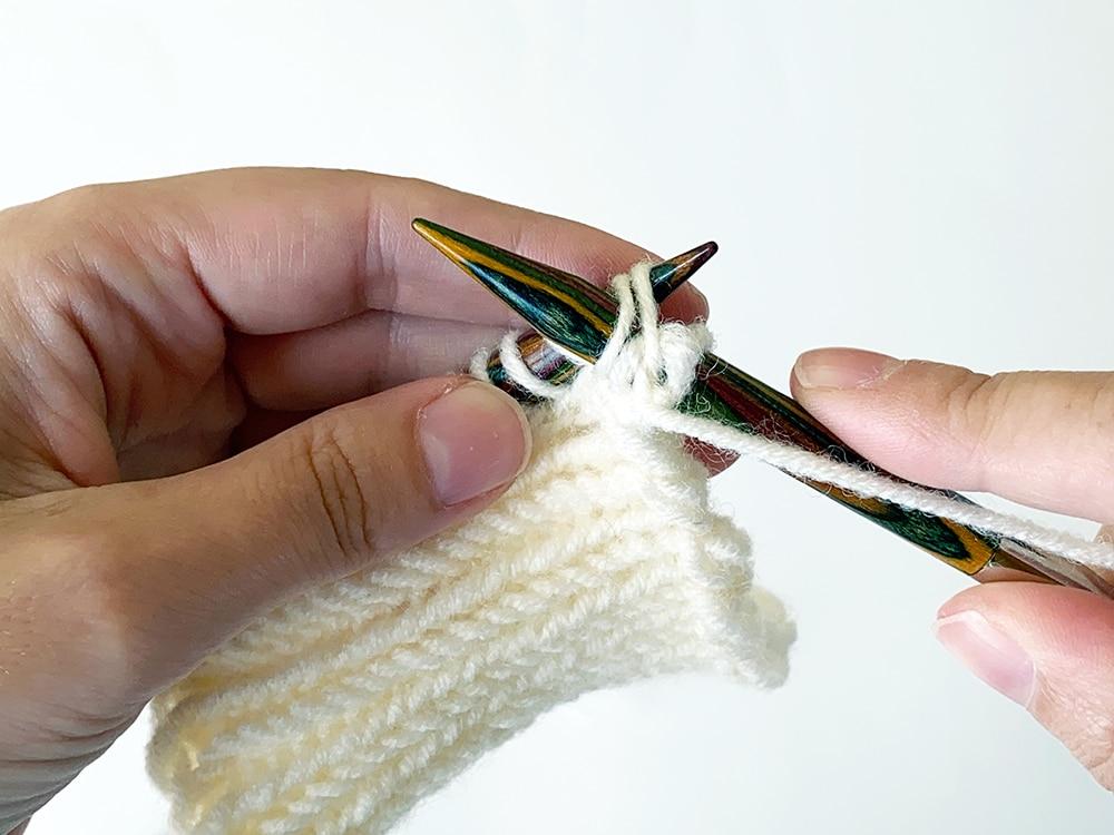 Herringbone stitch pattern step 12