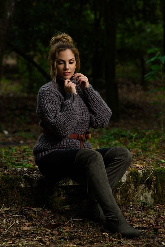 brown fisherman rib knitted sweater