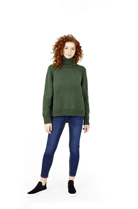 turtle neck pullover knit with fine weight yarn