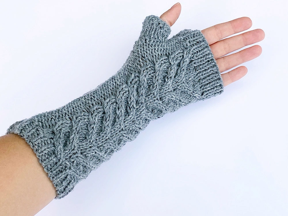 underside of cable mittens