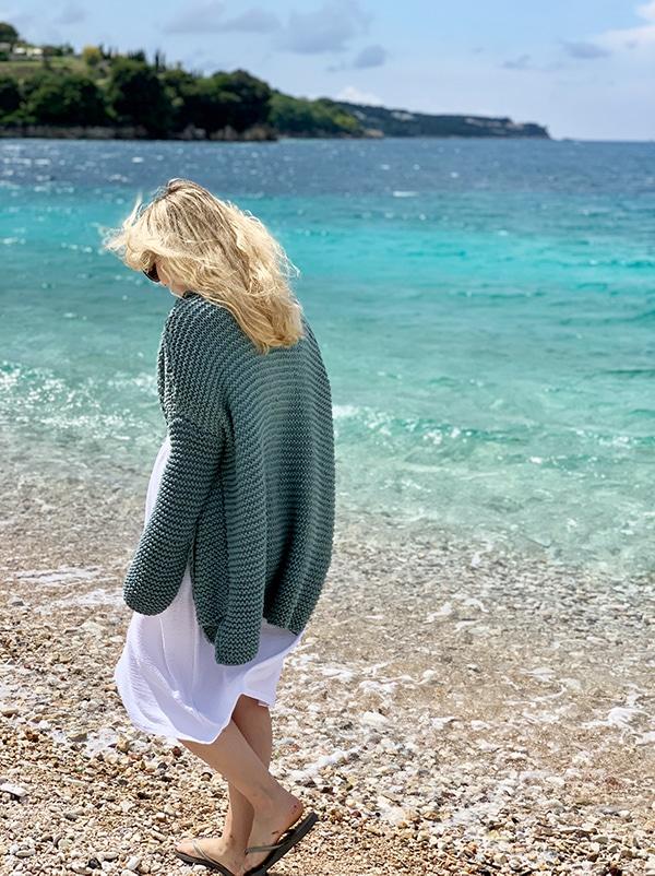woman wearing a knit cardigan