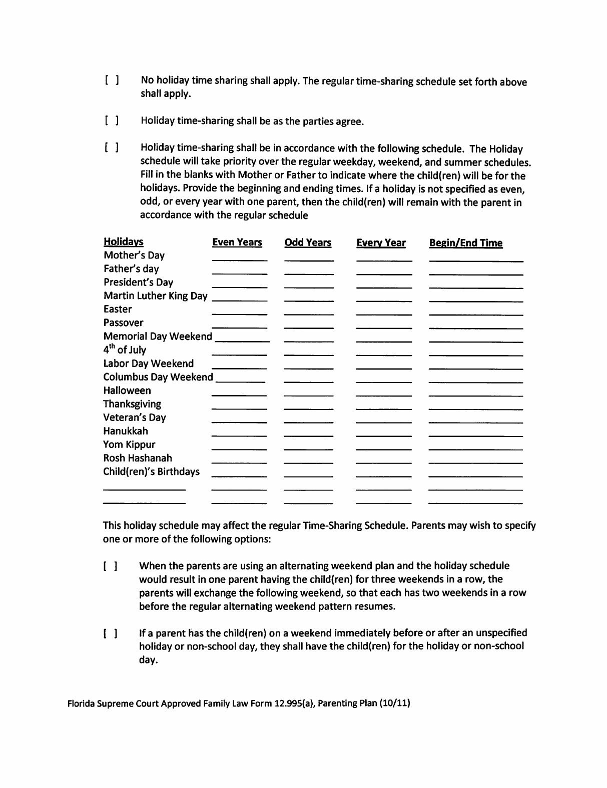 Sample Parenting Plan Template