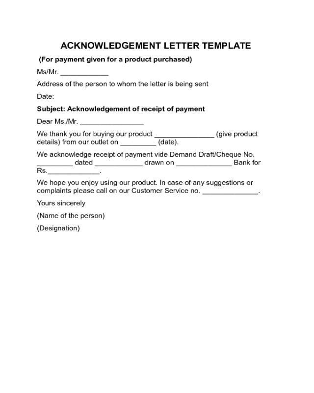 Acknowledgement Letter Sample Edit