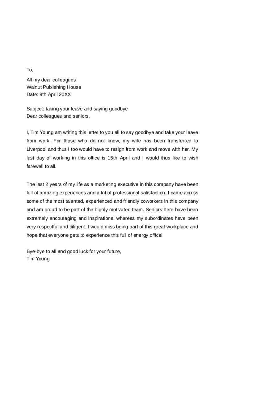 Sample Goodbye Letter To Co Workers Heartfelt