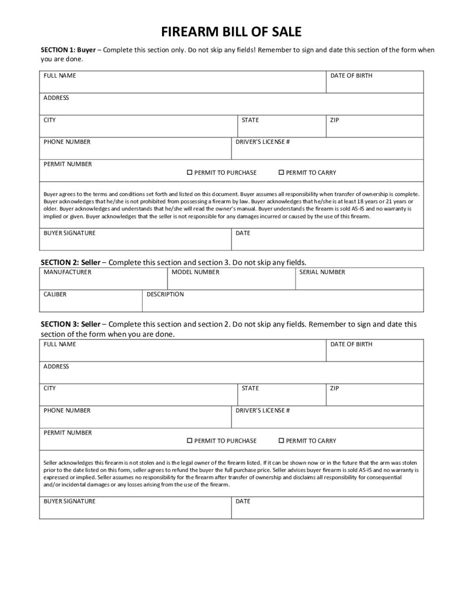 firearms bill of sale form