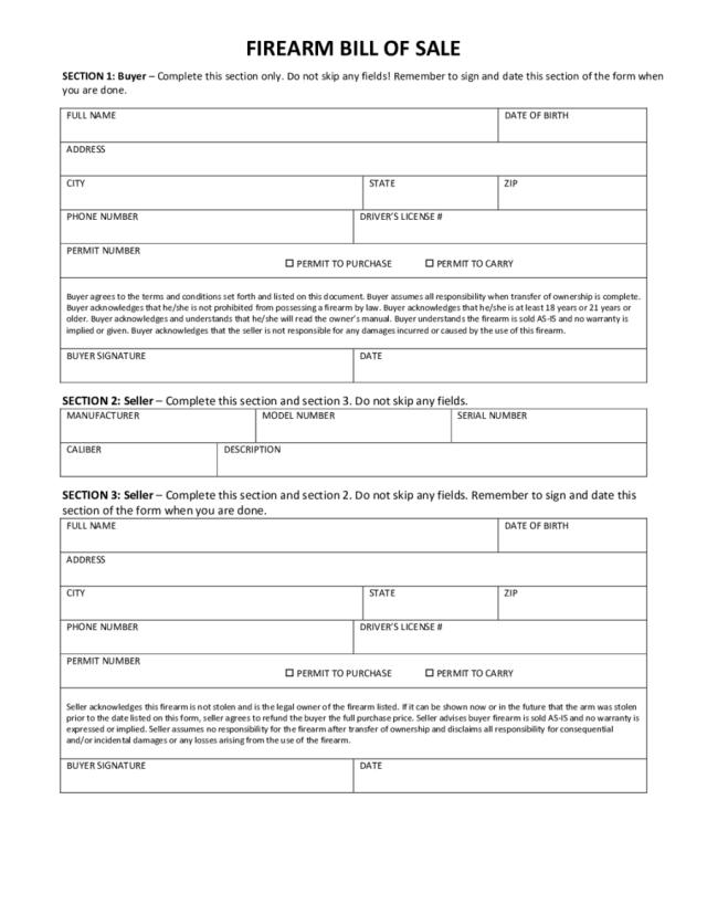 firearm bill of sale form free download aashe