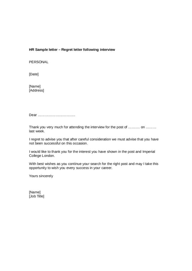 Job Rejection Letter Sample - Edit, Fill, Sign Online  Handypdf