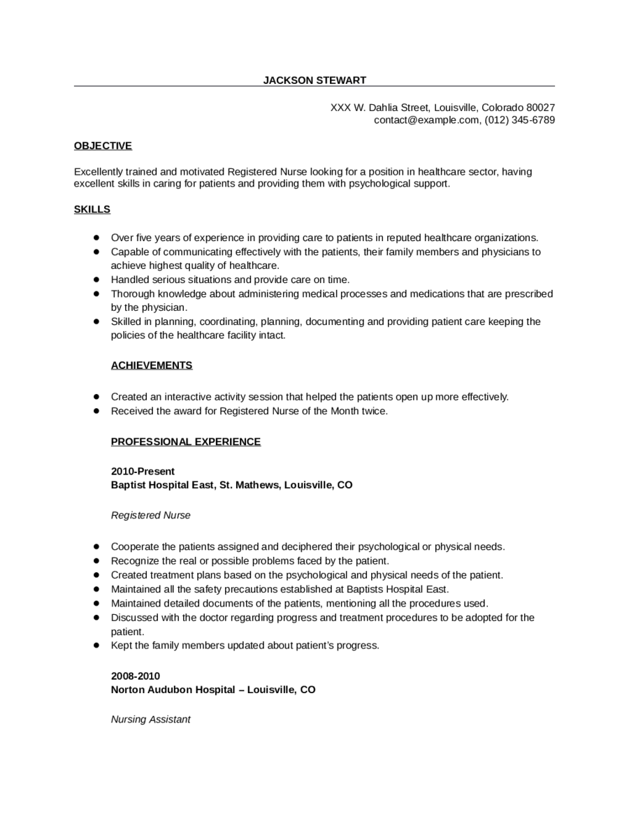 Sample Registered Nurse Resume Edit Fill Sign Online