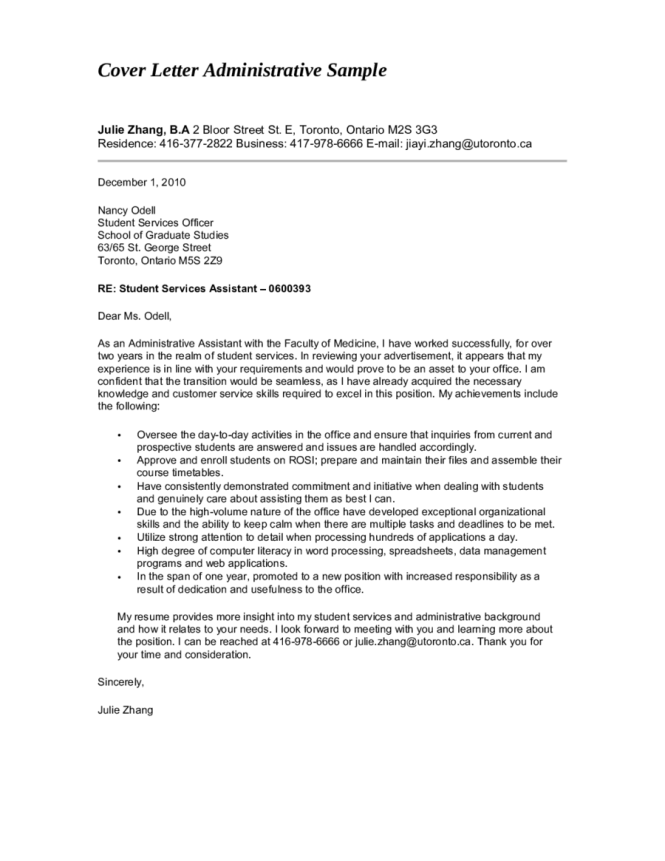 Cover Letter Sle Administrative Istant Park Cl
