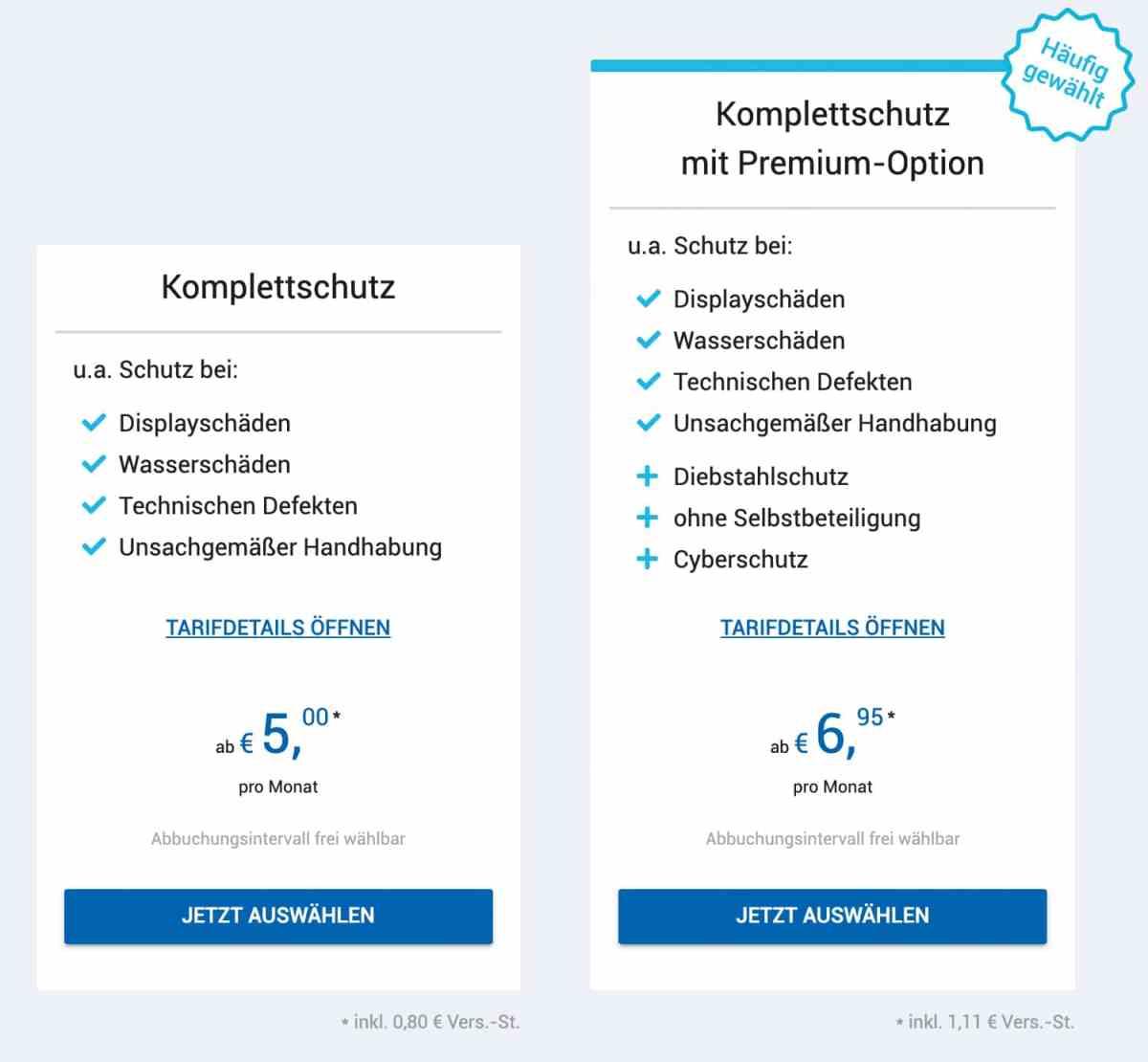 Wertgarantie Komplettschutz vs. Komplettschutz mit Premium-Optionen
